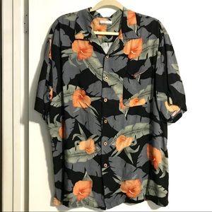 Hawaiian Print Button Down Short Sleeve Shirt